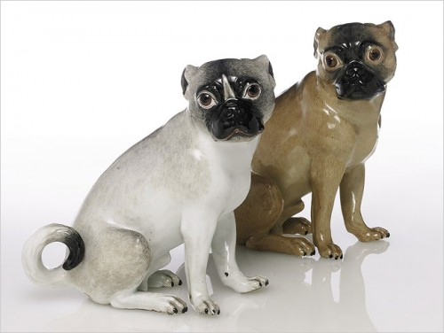 2 meissen pugs 18c part of weinberg collection auctioned at sothebys