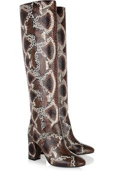2 lanvin snakeskin boots